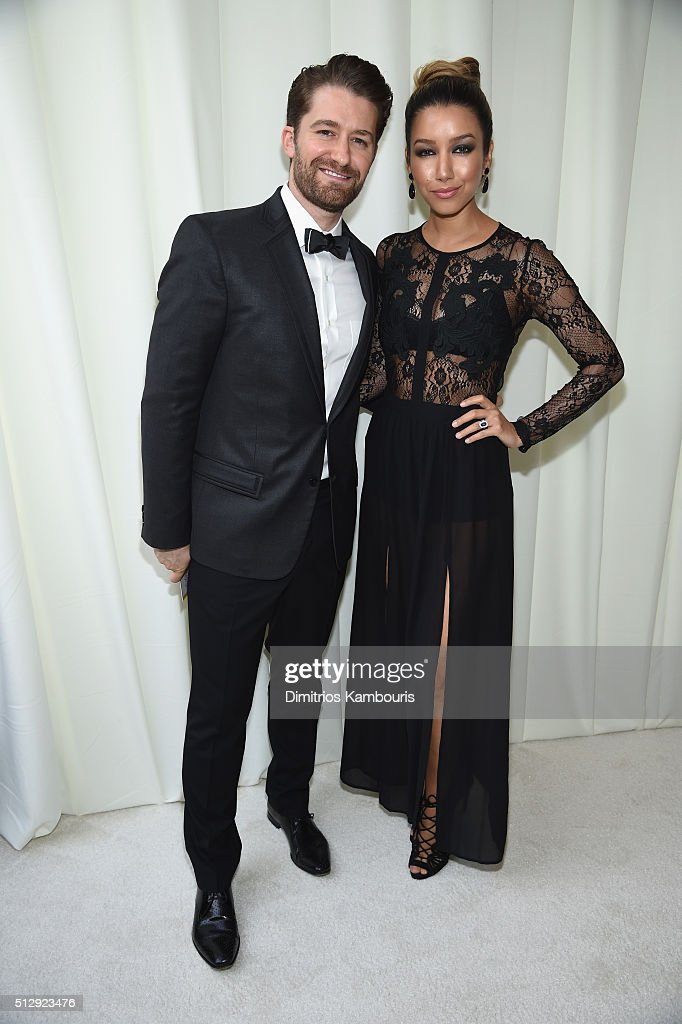 Actors Matthew Morrison and Renee Puente attend the 24th Annual Elton John AIDS Foundation's Oscar Viewing Party at The City of West Hollywood Park...