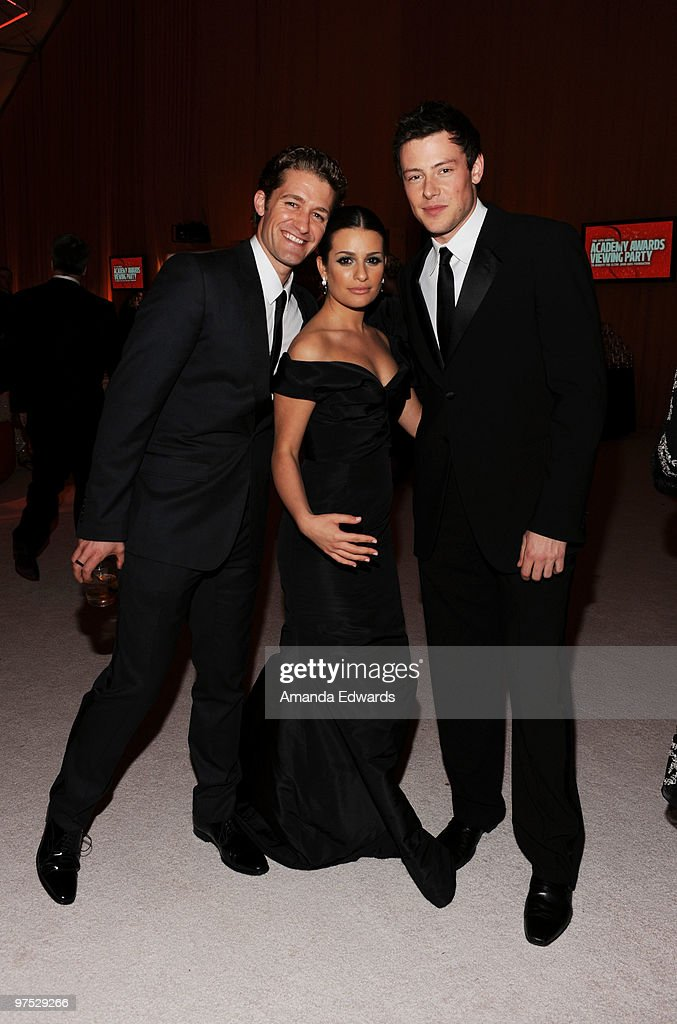 Actors Matthew Morrison Lea Michele and Cory Monteith attend the Elton John AIDS Foundation Oscar Viewing Party at the Pacific Design Center on March...