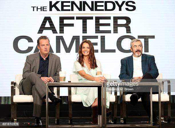 Actors Matthew Perry Katie Holmes and director Jon Cassar of the television show 'The Kennedys After Camelot' speak onstage during the REELZChannel...