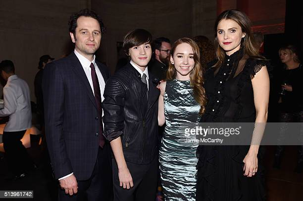 Actors Matthew Rhys Holly Taylor Keidrich Sellati and Keri Russell attend the 'The Americans' season 4 premiere on March 5 2016 in New York City
