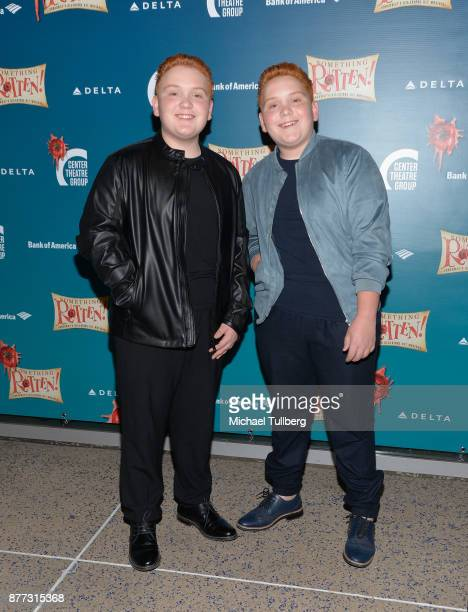 Actors Matthew Royer and Benjamin Royer attend the opening night of 'Something Rotten' at Ahmanson Theatre on November 21 2017 in Los Angeles...
