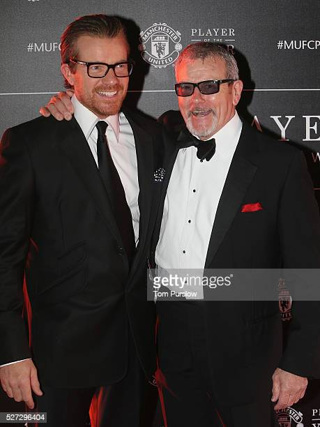 Actors Max Beesley and Maxton Beesley arrive at the club's annual Player of the Year awards at Old Trafford on May 2 2016 in Manchester England