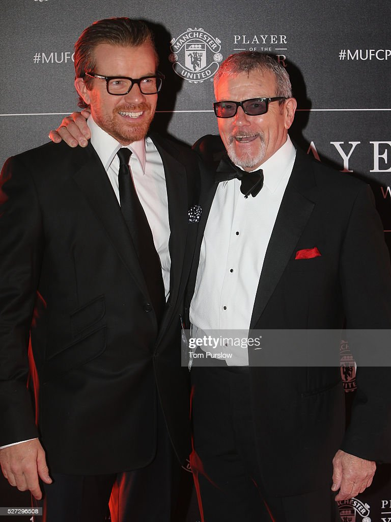 Actors <a gi-track='captionPersonalityLinkClicked' href=/galleries/search?phrase=Max+Beesley&family=editorial&specificpeople=234432 ng-click='$event.stopPropagation()'>Max Beesley</a> and Maxton Beesley arrive at the club's annual Player of the Year awards at Old Trafford on May 2, 2016 in Manchester, England.