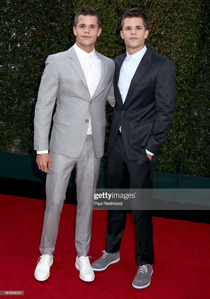 Actors Max Carver and Charlie Carver arrive at the Giorgio Armani party during Paris Photo LA - Opening Night at Paramount Studios on April 25, 2013 in Hollywood, California.