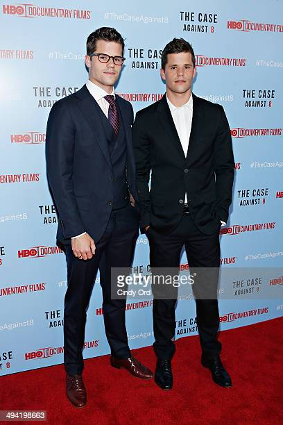 Actors Max Carver and Charlie Carver attend 'The Case Against 8' screening at Time Warner Screening Room on May 28 2014 in New York City