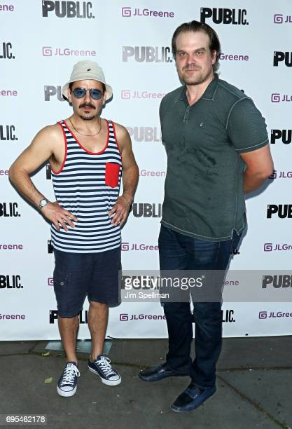 Actors Max Casella and David Harbour attend the 'Julius Caesar' opening night at Delacorte Theater on June 12 2017 in New York City