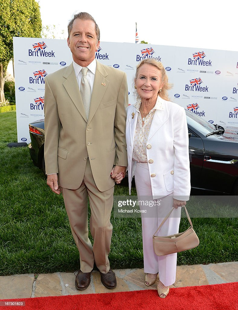 Actors Max Caulfield (L) and Juliet Mills attends the BritWeek Los Angeles Red Carpet Launch Party with Official Vehicle Sponsor Jaguar on April 23, 2013 in Los Angeles, California.