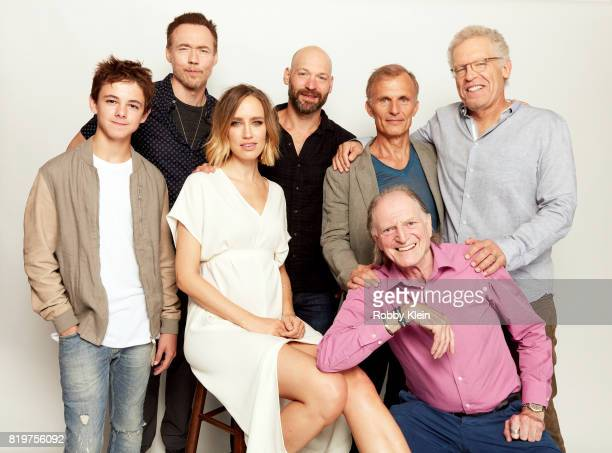 Actors Max Charles Kevin Durand Ruta Gedmintas Corey Stoll Richard Sammel David Bradley and writer/producer Carlton Cuse from FX's 'The Strain' pose...