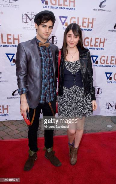 Actors Max Ehrich and Cassidy Lehrman attend GLEH's Golden Globe viewing gala at Jim Henson Studios on January 13 2013 in Hollywood California