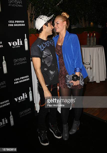 Actors Max Ehrich and Kelly Heyer attend the Cell Phones For Soldiers charity event sponsored by Voli Light Vodka at Sky Bar in the Mondrian Hotel on...
