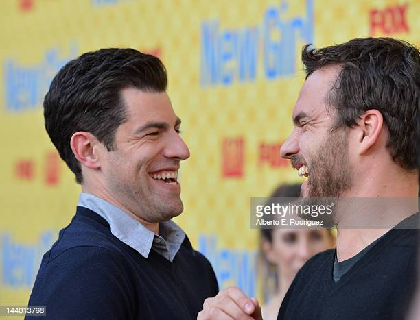 Actors Max Greenfield and Jake M Johnson arrive to The Academy of Television Arts Sciences' screening of Fox's 'New Girl' at Leonard H Goldenson...