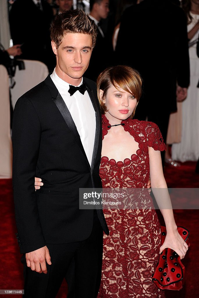 Actors Max Irons (L) and Emily Browning attend the 'Alexander McQueen: Savage Beauty' Costume Institute Gala at The Metropolitan Museum of Art on May 2, 2011 in New York City.