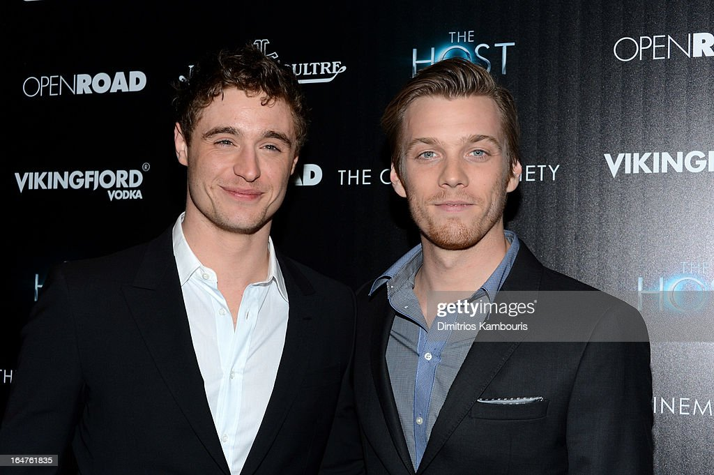 Actors <a gi-track='captionPersonalityLinkClicked' href=/galleries/search?phrase=Max+Irons&family=editorial&specificpeople=762929 ng-click='$event.stopPropagation()'>Max Irons</a> and <a gi-track='captionPersonalityLinkClicked' href=/galleries/search?phrase=Jake+Abel&family=editorial&specificpeople=4684398 ng-click='$event.stopPropagation()'>Jake Abel</a> attend The Cinema Society and Jaeger-LeCoultre screening of Open Road Films' 'The Host' at Tribeca Grand Hotel on March 27, 2013 in New York City.