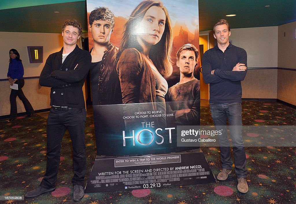 Actors <a gi-track='captionPersonalityLinkClicked' href=/galleries/search?phrase=Max+Irons&family=editorial&specificpeople=762929 ng-click='$event.stopPropagation()'>Max Irons</a> and Jake Abel attend 'The Host' Miami Q&A Screening at AMC Sunset Place on February 18, 2013 in Miami, Florida.