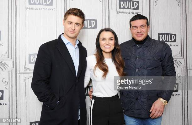 Actors Max Irons Samantha Barks and Tamer Hassan attend Build Series to discuss 'Bitter Harvest' at Build Studio on February 16 2017 in New York City