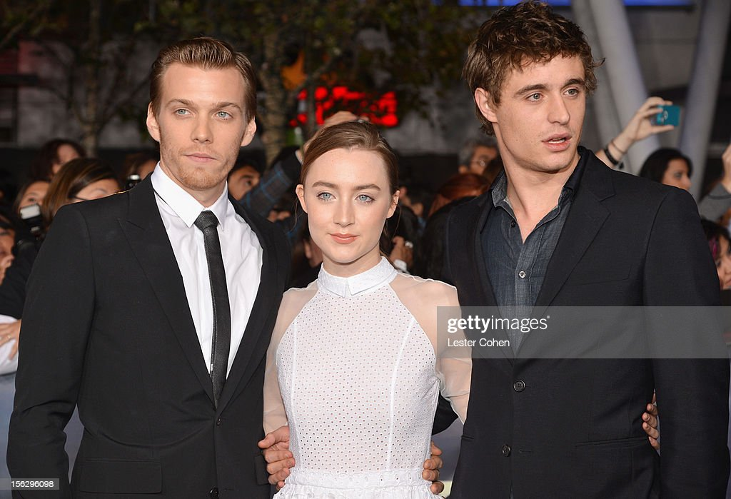 Actors Max Irons, Saoirse Ronan, and Jake Abel arrive at 'The Twilight Saga: Breaking Dawn - Part 2' Los Angeles premiere at the Nokia Theatre L.A. Live on November 12, 2012 in Los Angeles, California.