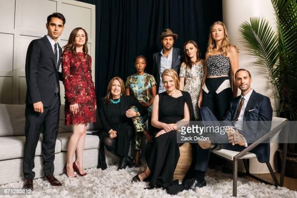 Actors Max Minghella Alexis Bledel Ann Dowd Samira Wiley OT Fagbenle Elisabeth Moss Madeline Brewer Yvonne Strahovski and Joseph Fiennes pose for a...