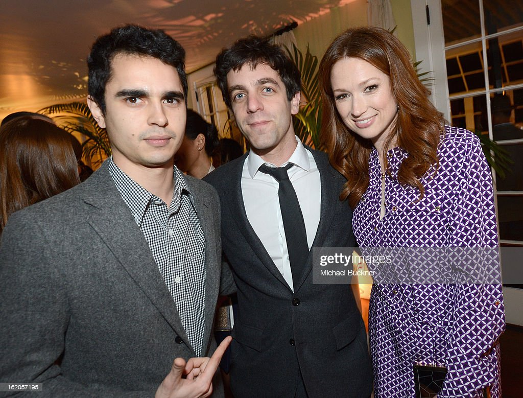 "Actors <a gi-track='captionPersonalityLinkClicked' href=/galleries/search?phrase=Max+Minghella&family=editorial&specificpeople=777019 ng-click='$event.stopPropagation()'>Max Minghella</a>, <a gi-track='captionPersonalityLinkClicked' href=/galleries/search?phrase=B.J.+Novak&family=editorial&specificpeople=745545 ng-click='$event.stopPropagation()'>B.J. Novak</a> and <a gi-track='captionPersonalityLinkClicked' href=/galleries/search?phrase=Ellie+Kemper&family=editorial&specificpeople=6123842 ng-click='$event.stopPropagation()'>Ellie Kemper</a> wearing Juicy Couture attend Vanity Fair and Juicy Couture's Celebration of the 2013 ""Vanities"" Calendar hosted by Vanity Fair West Coast Editor Krista Smith and actress Olivia Munn in support of the Regional Food Bank of Oklahoma, a member of Feeding America, at the Chateau Marmont on February 18, 2013 in Los Angeles, California."