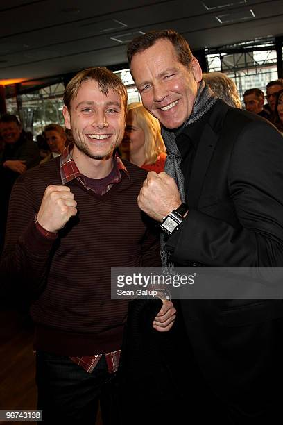 Actors Max Riemelt and Henry Maske attend the Berlinale reception at the Hesse state government representation on February 16 2010 in Berlin Germany