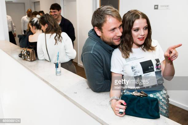 Actors Max Riemelt and Jella Haase attend the BIDI BADU by Kilian Kerner presentation at Ellington Hotel on March 28 2017 in Berlin Germany