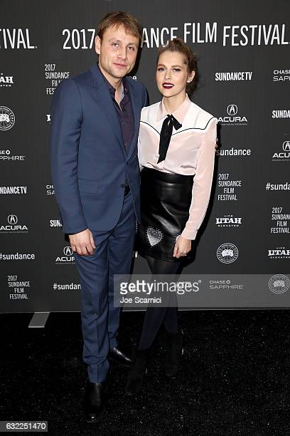 Actors Max Riemelt and Teresa Palmer attend the 'Berlin Syndrome' premiere during day 2 of the 2017 Sundance Film Festival at The Marc Theatre on...