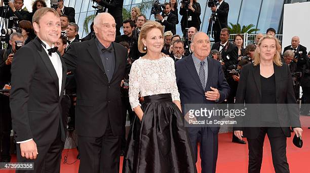 Actors Max Riemelt Bruno Ganz director Barbet Schroeder and actress Marthe Keller attend the Premiere of 'Sicario' during the 68th annual Cannes Film...