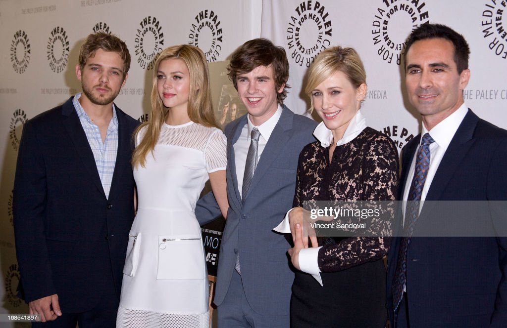 Actors <a gi-track='captionPersonalityLinkClicked' href=/galleries/search?phrase=Max+Thieriot&family=editorial&specificpeople=2545974 ng-click='$event.stopPropagation()'>Max Thieriot</a>, <a gi-track='captionPersonalityLinkClicked' href=/galleries/search?phrase=Nicola+Peltz&family=editorial&specificpeople=5306904 ng-click='$event.stopPropagation()'>Nicola Peltz</a>, <a gi-track='captionPersonalityLinkClicked' href=/galleries/search?phrase=Freddie+Highmore&family=editorial&specificpeople=210834 ng-click='$event.stopPropagation()'>Freddie Highmore</a>, <a gi-track='captionPersonalityLinkClicked' href=/galleries/search?phrase=Vera+Farmiga&family=editorial&specificpeople=227012 ng-click='$event.stopPropagation()'>Vera Farmiga</a> and <a gi-track='captionPersonalityLinkClicked' href=/galleries/search?phrase=Nestor+Carbonell&family=editorial&specificpeople=683517 ng-click='$event.stopPropagation()'>Nestor Carbonell</a> attend The Paley Center For Media presents 'Bates Motel: Reimagining a Cinema Icon' at The Paley Center for Media on May 10, 2013 in Beverly Hills, California.