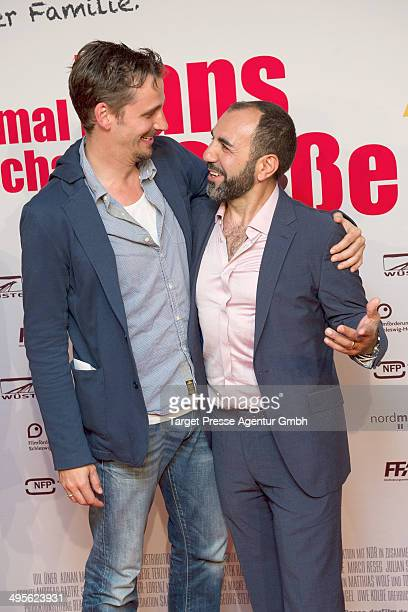 Actors Max von Thun and Adnan Maral attend the Berlin premiere of 'Einmal Hans mit scharfer Sosse' at Cineplex Neukoelln on June 4 2014 in Berlin...