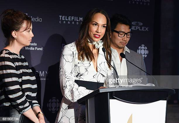 Actors Maxim Roy Amanda Brugel and Simu Liu attend the 2017 Canadian Screen Awards Press Conference held at the ThorntonSmith Building on January 17...
