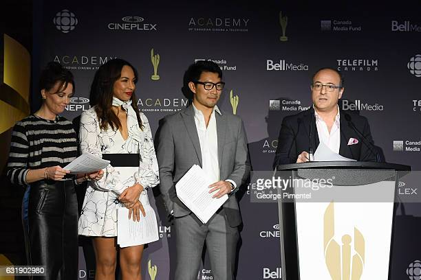 Actors Maxim Roy Amanda Brugel Simu Liu and Martin Katz Chair Academy of Canadian Cinema Television attend the 2017 Canadian Screen Awards Press...