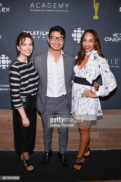 Actors Maxim Roy Simu Liu and Amanda Brugel attend the 2017 Canadian Screen Awards Press Conference held at the ThorntonSmith Building on January 17...