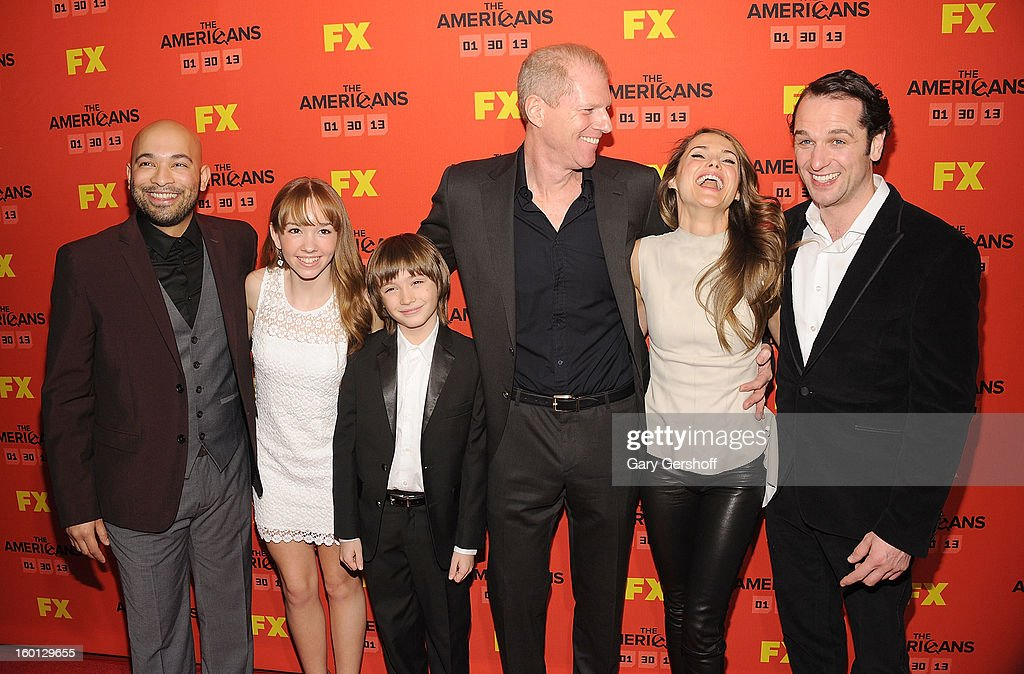 Actors Maximiliano Hernandez, Holly Taylor, Keidrich Sellati, <a gi-track='captionPersonalityLinkClicked' href=/galleries/search?phrase=Noah+Emmerich&family=editorial&specificpeople=2739782 ng-click='$event.stopPropagation()'>Noah Emmerich</a>, <a gi-track='captionPersonalityLinkClicked' href=/galleries/search?phrase=Keri+Russell&family=editorial&specificpeople=203250 ng-click='$event.stopPropagation()'>Keri Russell</a> and <a gi-track='captionPersonalityLinkClicked' href=/galleries/search?phrase=Matthew+Rhys&family=editorial&specificpeople=733972 ng-click='$event.stopPropagation()'>Matthew Rhys</a> attend FX's 'The Americans' Season One New York Premiere at DGA Theater on January 26, 2013 in New York City.