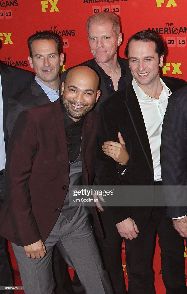 Actors Maximiliano Hernandez (2nd from left), <a gi-track='captionPersonalityLinkClicked' href=/galleries/search?phrase=Noah+Emmerich&family=editorial&specificpeople=2739782 ng-click='$event.stopPropagation()'>Noah Emmerich</a> and <a gi-track='captionPersonalityLinkClicked' href=/galleries/search?phrase=Matthew+Rhys&family=editorial&specificpeople=733972 ng-click='$event.stopPropagation()'>Matthew Rhys</a> attend FX's 'The Americans' Season One New York Premiere at DGA Theater on January 26, 2013 in New York City.