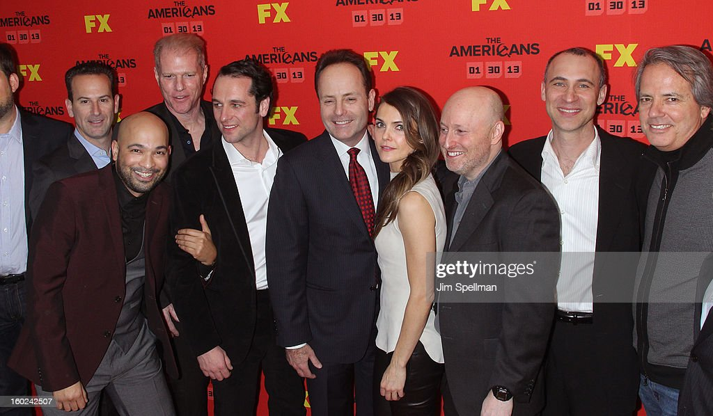 Actors Maximiliano Hernandez (2nd from left), Noah Emmerich, Matthew Rhys, FX Network President John Landgraf, actor Keri Russell, executive producer/creator Joe Weisberg, executive producers Joel Fields and Executive producer Graham Yost attend FX's 'The Americans' Season One New York Premiere at DGA Theater on January 26, 2013 in New York City.