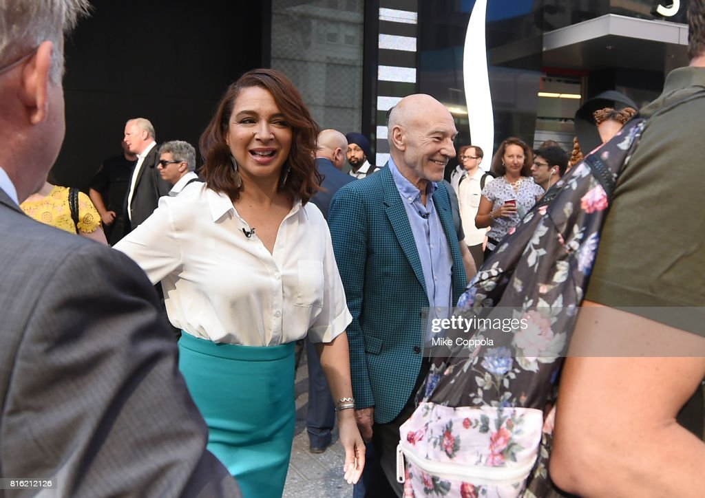 Actors Maya Rudolph (L) and Patrick Stewart of The Emoji Movie Celebrate World Emoji Day On Good Morning America on July 17, 2017 in New York City.