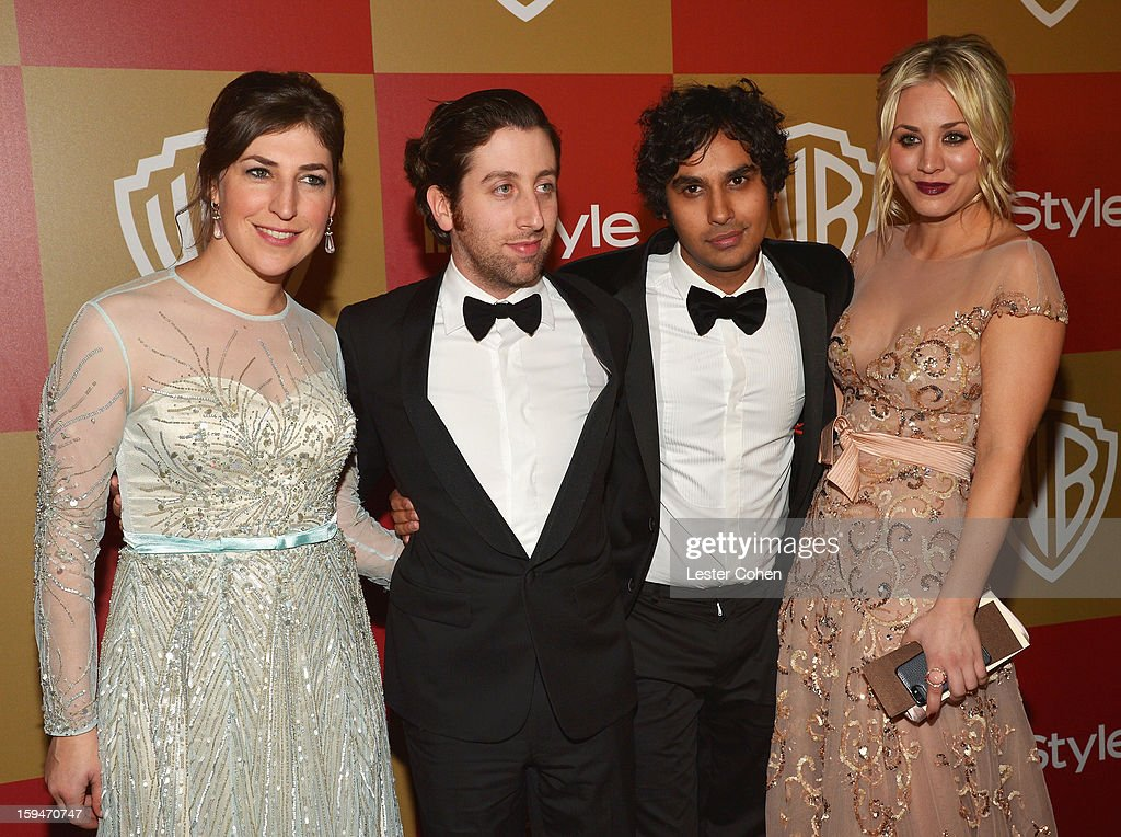 Actors Mayim Bialik, Simon Helberg, Kunal Nayyar and Kaley Cuoco attend the 2013 InStyle and Warner Bros. 70th Annual Golden Globe Awards Post-Party held at the Oasis Courtyard in The Beverly Hilton Hotel on January 13, 2013 in Beverly Hills, California.