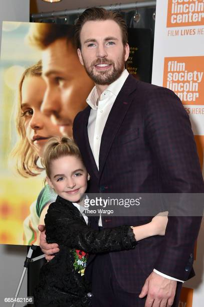 Actors McKenna Grace and Chris Evans attend the 'Gifted' New York Premiere at New York Institute of Technology on April 6 2017 in New York City