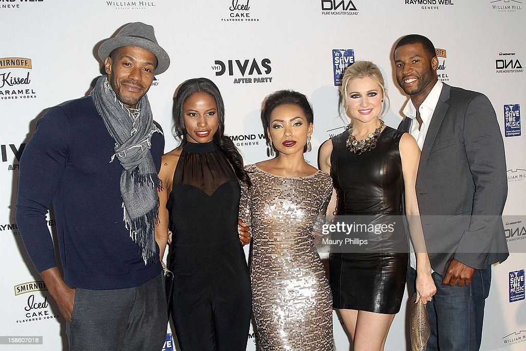 Actors McKinley Freeman, Taylour Paige, <a gi-track='captionPersonalityLinkClicked' href=/galleries/search?phrase=Logan+Browning&family=editorial&specificpeople=4428135 ng-click='$event.stopPropagation()'>Logan Browning</a>, Katherine Bailess and Robert Christopher Riley attend the Official VH1 Divas after party to benefit VH1 Save The Music Foundation at The Shrine Expo Hall on December 16, 2012 in Los Angeles, California.