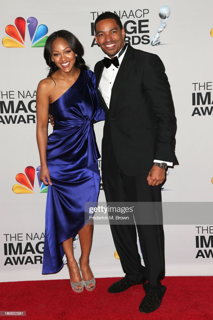 Actors Meagan Good (L) and Laz Alonso pose in the press room during the 44th NAACP Image Awards at The Shrine Auditorium on February 1, 2013 in Los Angeles, California.