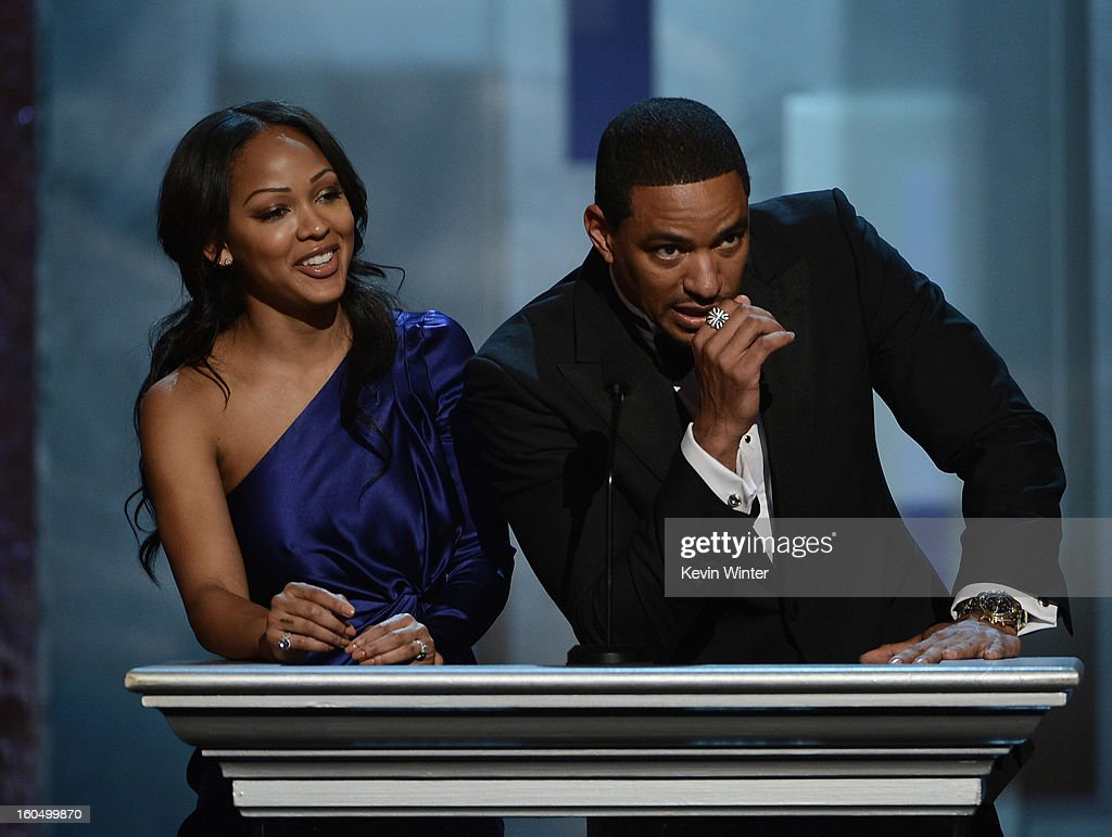 Actors Meagan Good (L) and Laz Alonso speak onstage during the 44th NAACP Image Awards at The Shrine Auditorium on February 1, 2013 in Los Angeles, California.