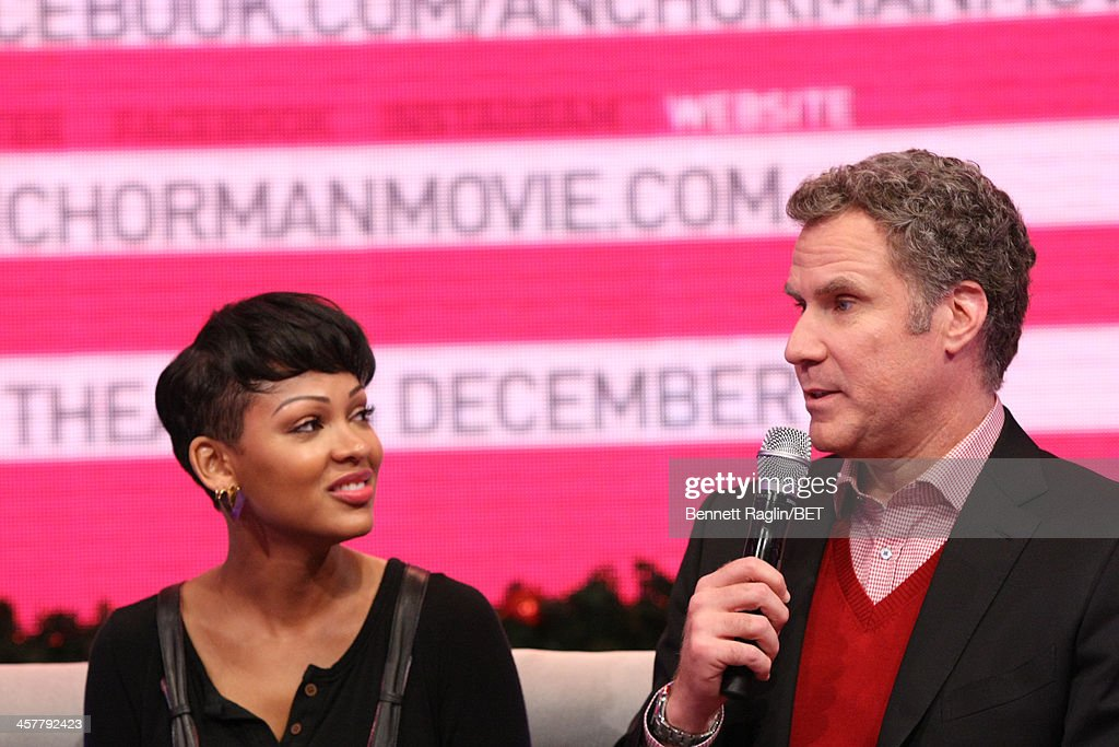 Actors <a gi-track='captionPersonalityLinkClicked' href=/galleries/search?phrase=Meagan+Good&family=editorial&specificpeople=171680 ng-click='$event.stopPropagation()'>Meagan Good</a> and <a gi-track='captionPersonalityLinkClicked' href=/galleries/search?phrase=Will+Ferrell&family=editorial&specificpeople=171995 ng-click='$event.stopPropagation()'>Will Ferrell</a> visit 106 & Park at BET studio on December 17, 2013 in New York City.