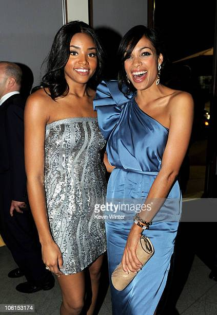 Actors Meagan Tandy and Rosario Dawson pose at the after party for the premiere of Twentieth Century Fox's 'Unstoppable' at the Napa Valley Grille on...