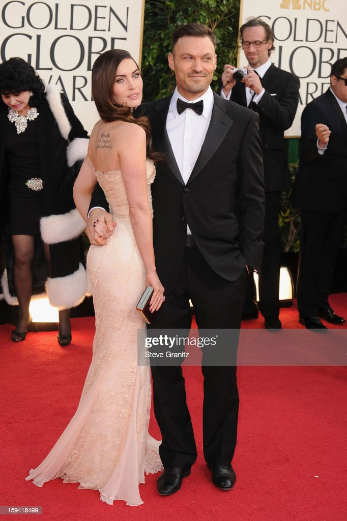 Actors Megan Fox and Brian Austin Green arrive at the 70th Annual Golden Globe Awards held at The Beverly Hilton Hotel on January 13, 2013 in Beverly Hills, California.