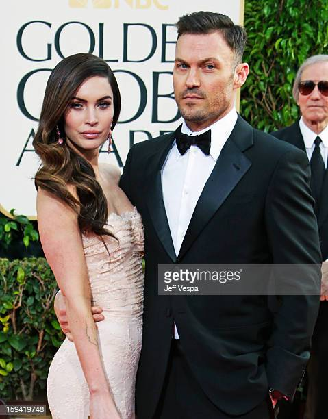 Actors Megan Fox and Brian Austin Green arrive at the 70th Annual Golden Globe Awards held at The Beverly Hilton Hotel on January 13 2013 in Beverly...