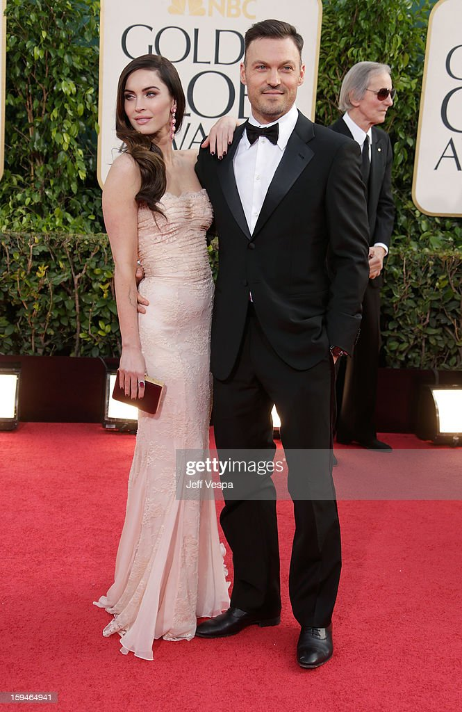 Actors Megan Fox and Brian Austin Green arrives at the 70th Annual Golden Globe Awards held at The Beverly Hilton Hotel on January 13, 2013 in Beverly Hills, California.