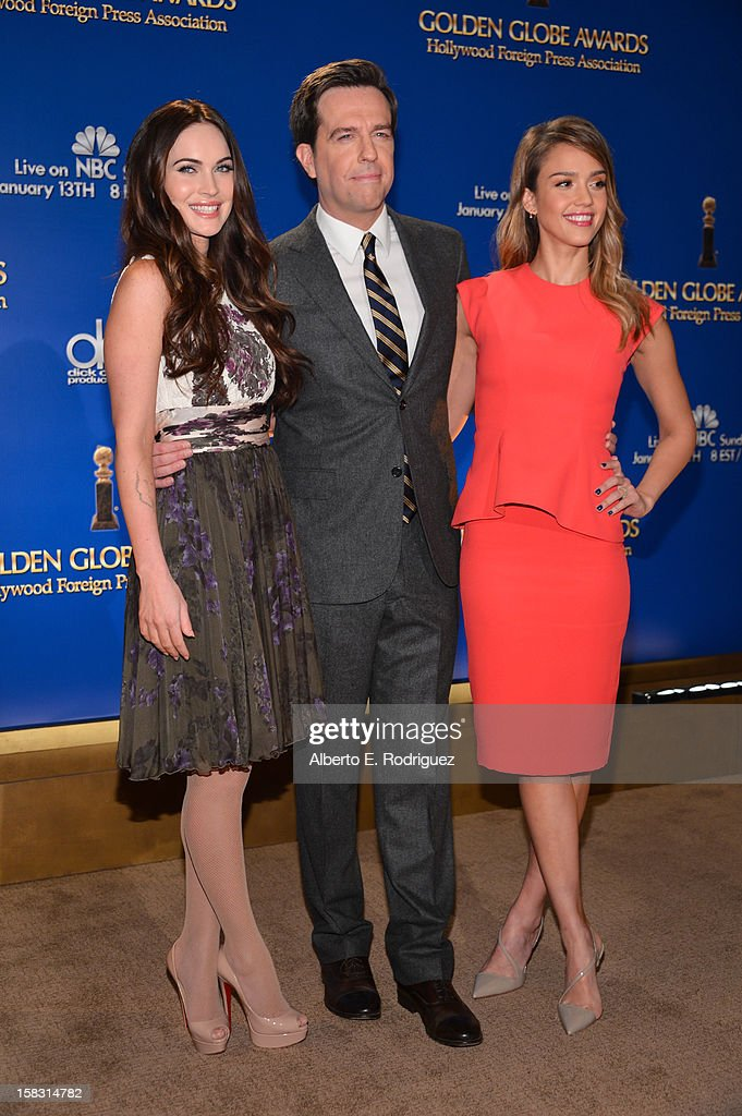 Actors Megan Fox, Ed Helms and Jessica Alba onstage at the 70th Annual Golden Globe Awards Nominations held at The Beverly Hilton Hotel on December 13, 2012 in Beverly Hills, California.