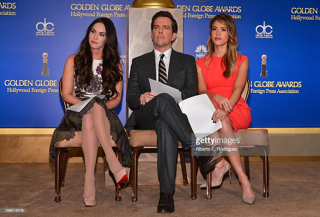 Actors Megan Fox, Ed Helms and Jessica Alba speak onstage at the 70th Annual Golden Globe Awards Nominations held at The Beverly Hilton Hotel on December 13, 2012 in Beverly Hills, California.