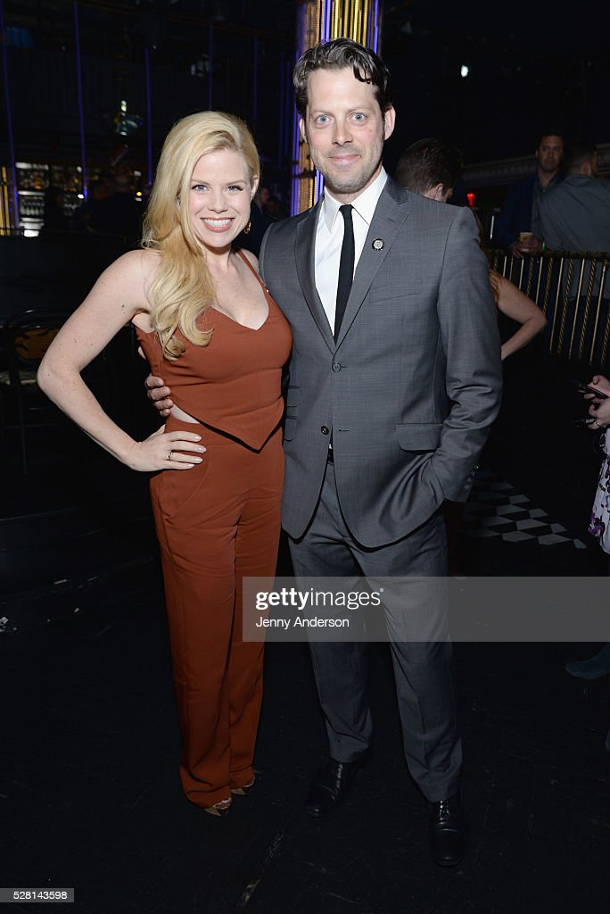 Actors <a gi-track='captionPersonalityLinkClicked' href=/galleries/search?phrase=Megan+Hilty&family=editorial&specificpeople=602492 ng-click='$event.stopPropagation()'>Megan Hilty</a> and David Furr attend the 2016 Tony Awards Meet The Nominees Press Reception on May 4, 2016 in New York City.