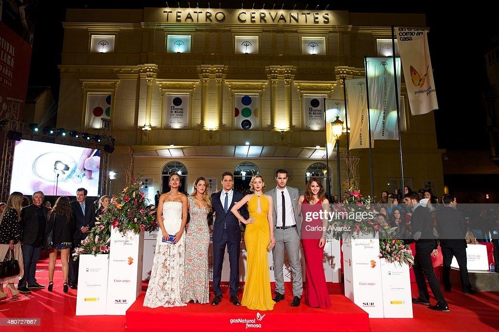 Actors Megan Montaner, Alejandra Onieva, Martin Rivas, Ana de Armas, Richard Shaul, Andrea Duro and director David Menkes attend the 'Por un Punado de Besos' premiere during the 17th Malaga Film Festival 2014 - Day 6 at the Cervantes Theater on March 26, 2014 in Malaga, Spain.