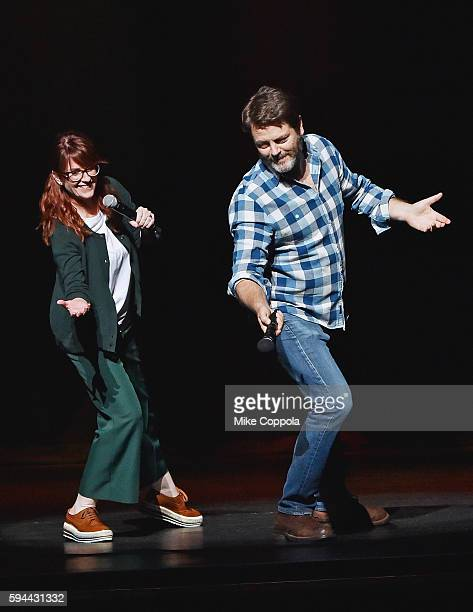 Actors Megan Mullally and husband Nick Offerman perform Summer Of 69 No Apostrophe at Beacon Theatre on August 23 2016 in New York City